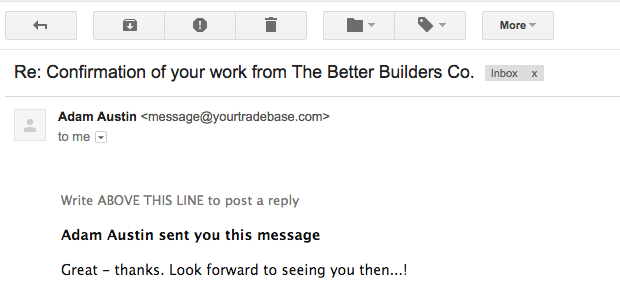 Receive replies to confirmation emails